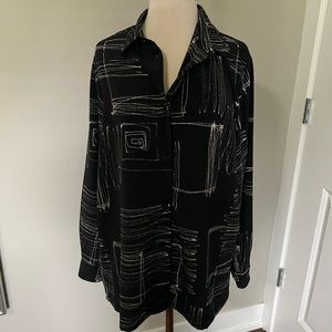 Coldwater Creek blouse abstract print large